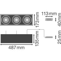 SP MULTI 3 x 30W/3000K FL WT/BK