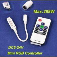 Mini RGB Dimmer mit Funkfernsteuerung. 5-24V, bis 288W